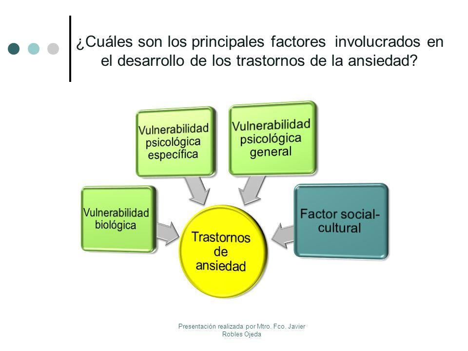 ¿Cuáles son los principales factores involucrados en el desarrollo de los trastornos de la ansiedad? Presentación realizada por Mtro. Fco. Javier Robl