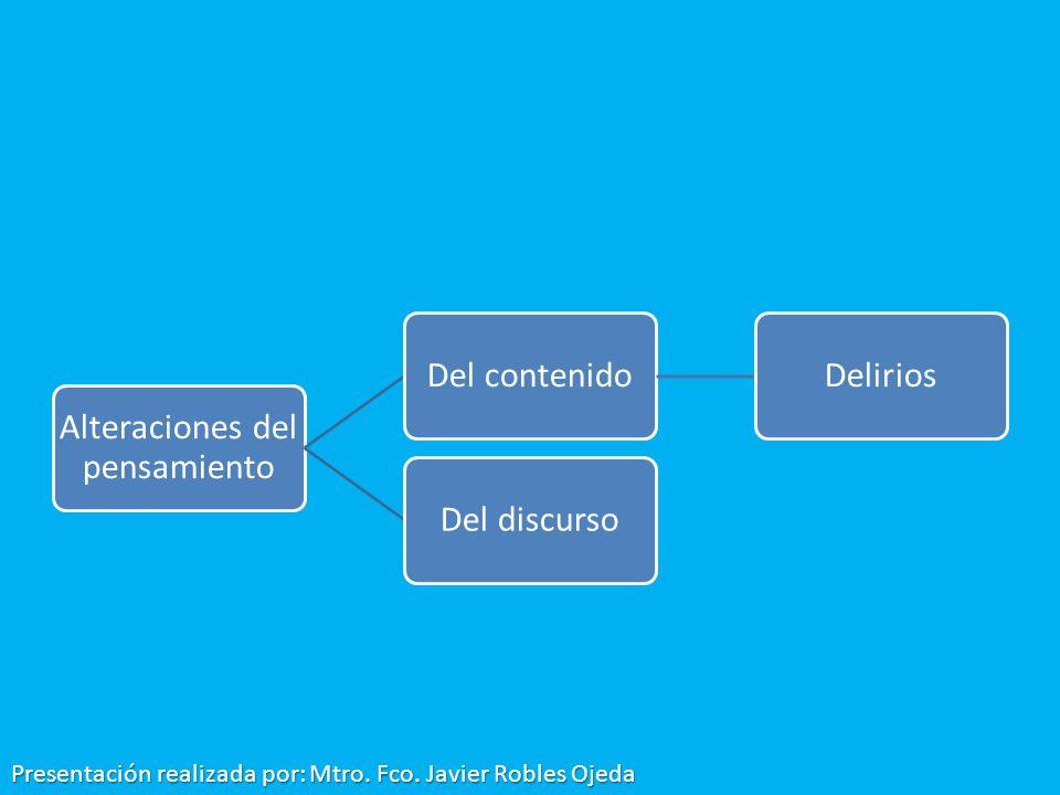 Alteraciones del pensamiento Del contenidoDeliriosDel discurso Presentación realizada por: Mtro. Fco. Javier Robles Ojeda