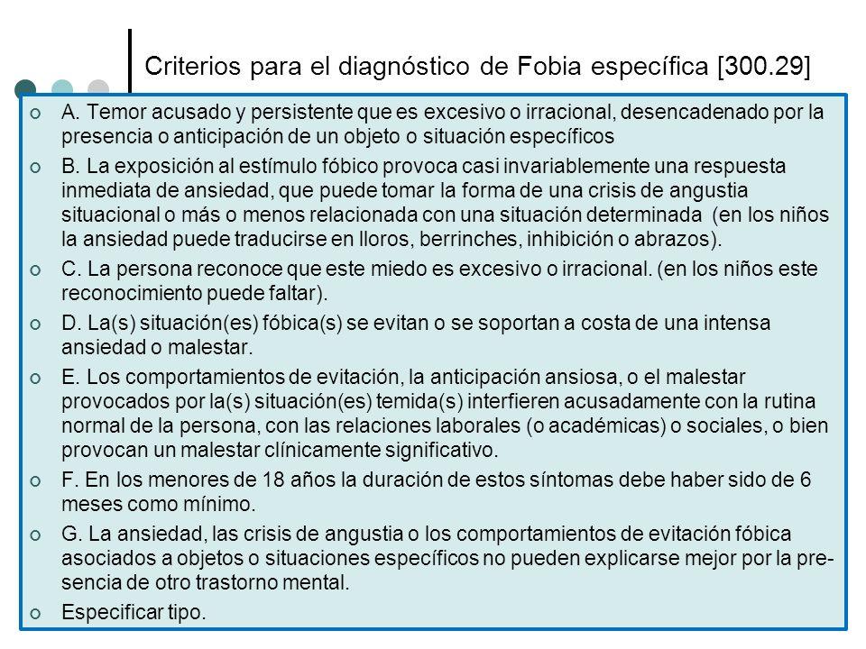 Criterios para el diagnóstico de Fobia específica [300.29] A. Temor acusado y persistente que es excesivo o irracional, desencadenado por la presencia