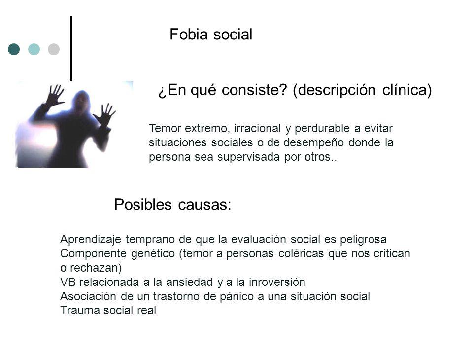 ¿En qué consiste? (descripción clínica) Posibles causas: Temor extremo, irracional y perdurable a evitar situaciones sociales o de desempeño donde la