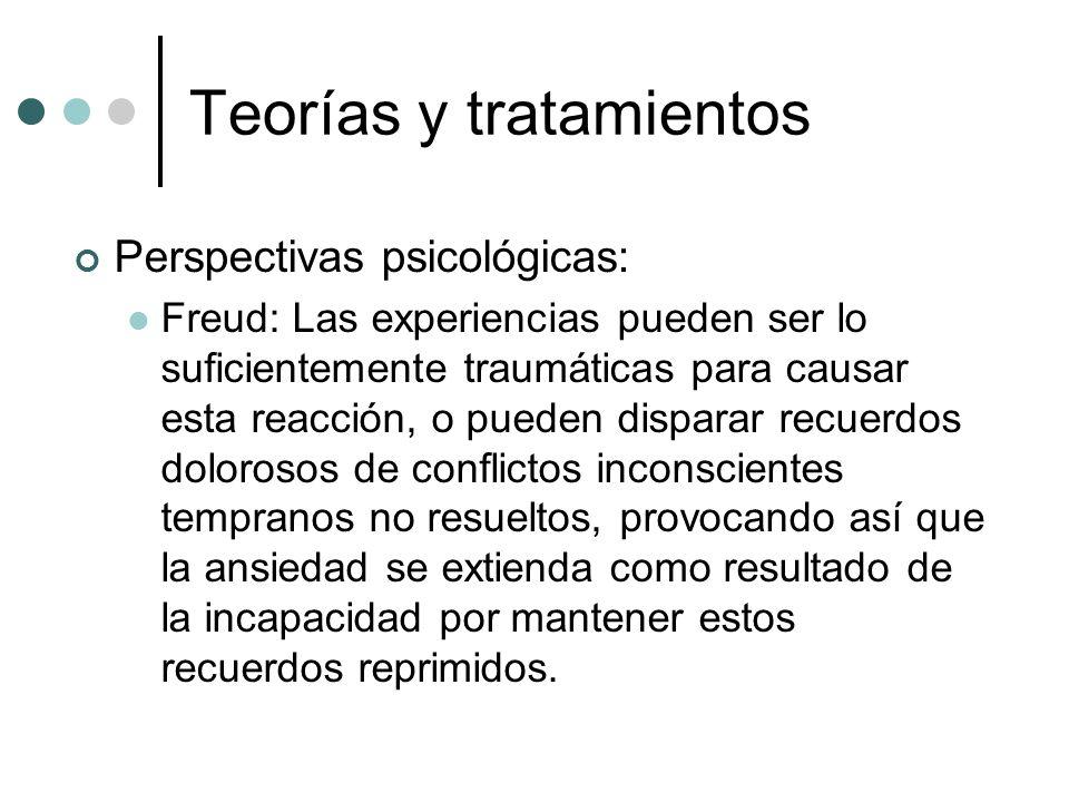 Teorías y tratamientos Perspectivas psicológicas: Freud: Las experiencias pueden ser lo suficientemente traumáticas para causar esta reacción, o puede