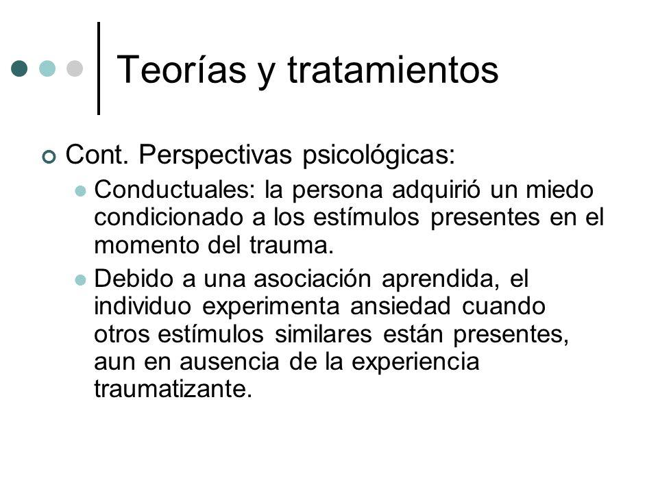 Teorías y tratamientos Cont. Perspectivas psicológicas: Conductuales: la persona adquirió un miedo condicionado a los estímulos presentes en el moment