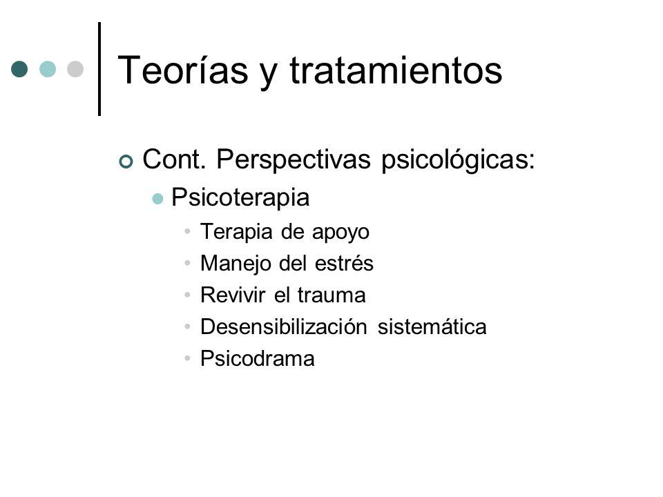 Teorías y tratamientos Cont. Perspectivas psicológicas: Psicoterapia Terapia de apoyo Manejo del estrés Revivir el trauma Desensibilización sistemátic