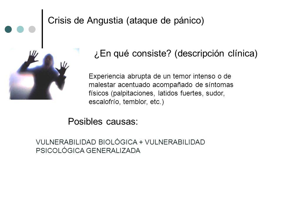¿En qué consiste? (descripción clínica) Posibles causas: Experiencia abrupta de un temor intenso o de malestar acentuado acompañado de síntomas físico