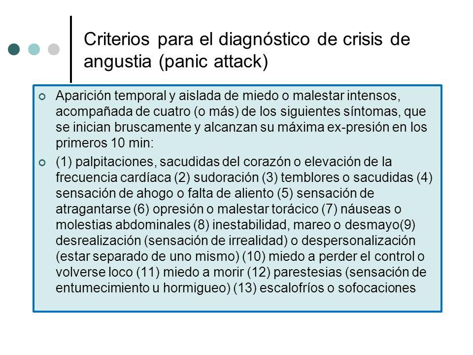 Criterios para el diagnóstico de crisis de angustia (panic attack) Aparición temporal y aislada de miedo o malestar intensos, acompañada de cuatro (o