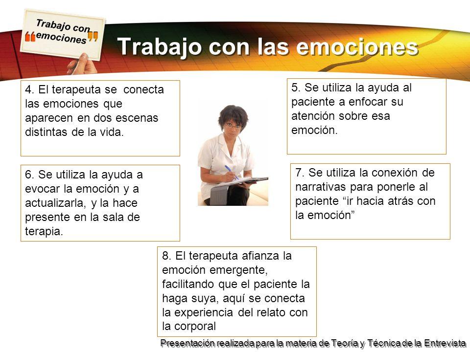 Trabajo con emociones Presentación realizada para la materia de Teoría y Técnica de la Entrevista Trabajo con las emociones 6.