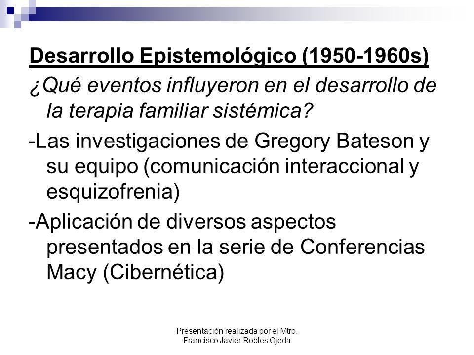 Desarrollo Epistemológico (1950-1960s) ¿Qué eventos influyeron en el desarrollo de la terapia familiar sistémica? -Las investigaciones de Gregory Bate