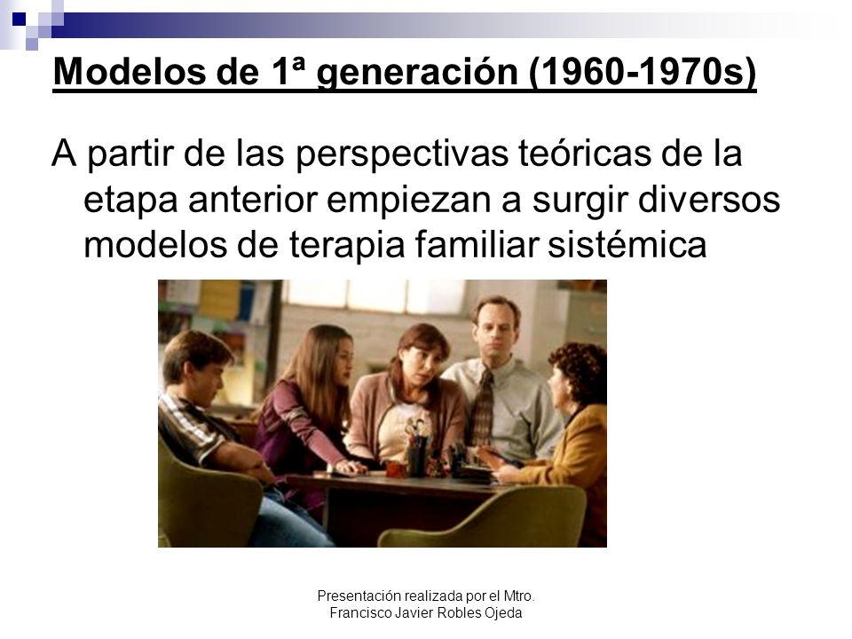 Modelos de 1ª generación (1960-1970s) A partir de las perspectivas teóricas de la etapa anterior empiezan a surgir diversos modelos de terapia familia
