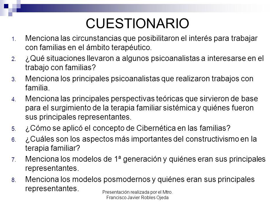 CUESTIONARIO 1. Menciona las circunstancias que posibilitaron el interés para trabajar con familias en el ámbito terapéutico. 2. ¿Qué situaciones llev