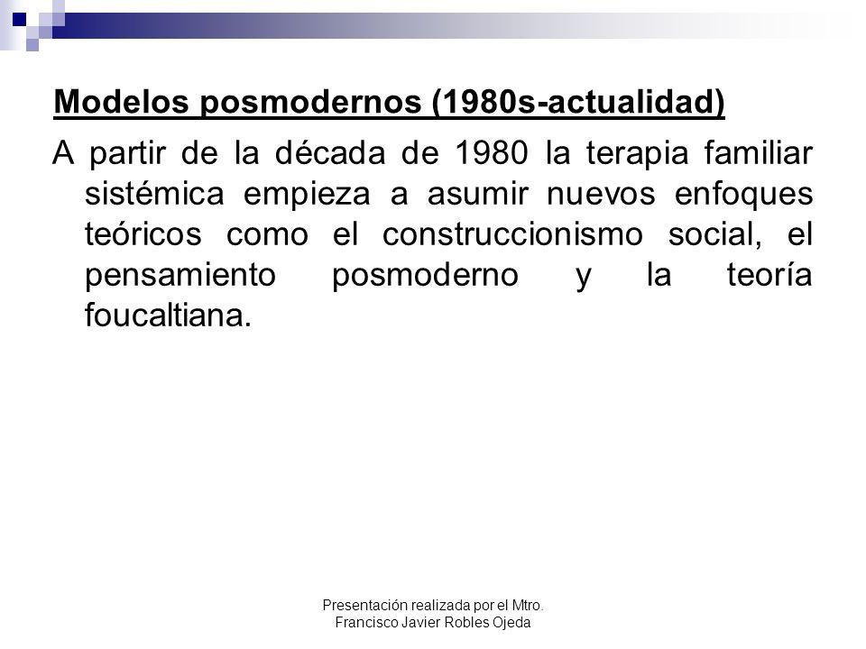 Modelos posmodernos (1980s-actualidad) A partir de la década de 1980 la terapia familiar sistémica empieza a asumir nuevos enfoques teóricos como el c