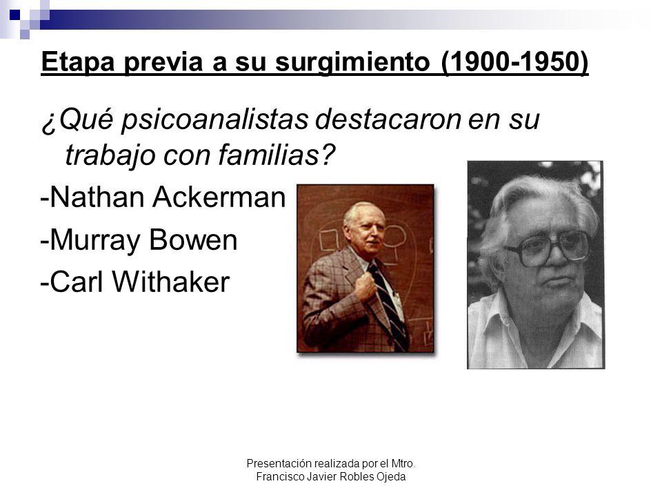 Etapa previa a su surgimiento (1900-1950) ¿Qué psicoanalistas destacaron en su trabajo con familias? -Nathan Ackerman -Murray Bowen -Carl Withaker Pre