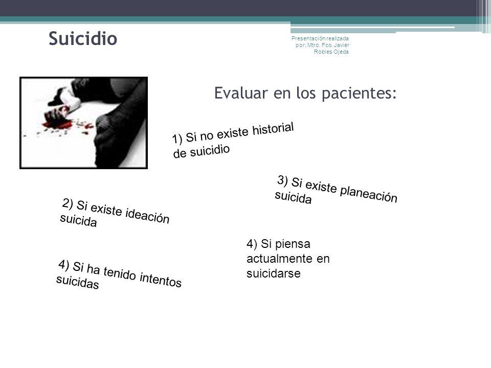 Suicidio Evaluar en los pacientes: 1) Si no existe historial de suicidio 2) Si existe ideación suicida 3) Si existe planeación suicida 4) Si ha tenido