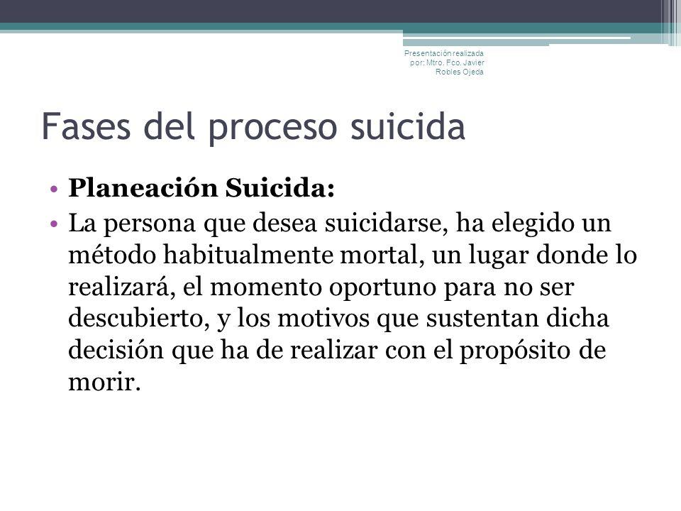 Fases del proceso suicida Planeación Suicida: La persona que desea suicidarse, ha elegido un método habitualmente mortal, un lugar donde lo realizará,