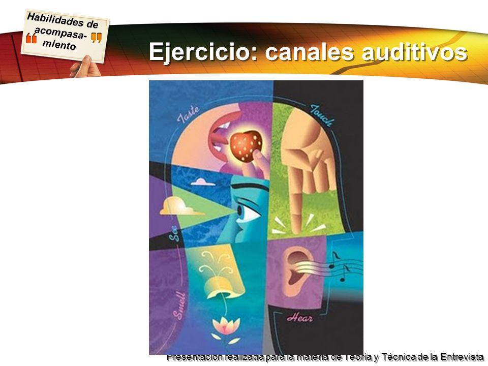 Habilidades de acompasa- miento Presentación realizada para la materia de Teoría y Técnica de la Entrevista Ejercicio: canales auditivos