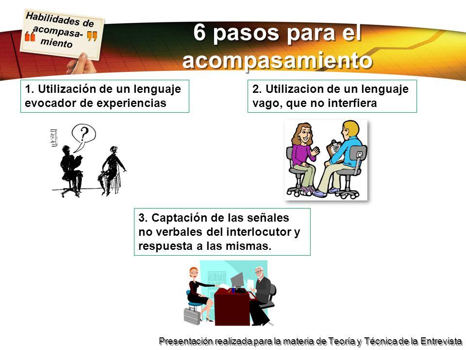 Habilidades de acompasa- miento Presentación realizada para la materia de Teoría y Técnica de la Entrevista 6 pasos para el acompasamiento 1. Utilizac