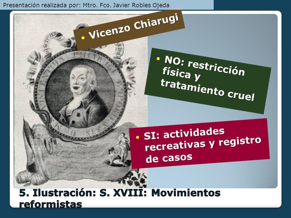 Vicenzo Chiarugi Vicenzo Chiarugi NO: restricción física y tratamiento cruel NO: restricción física y tratamiento cruel SI: actividades recreativas y