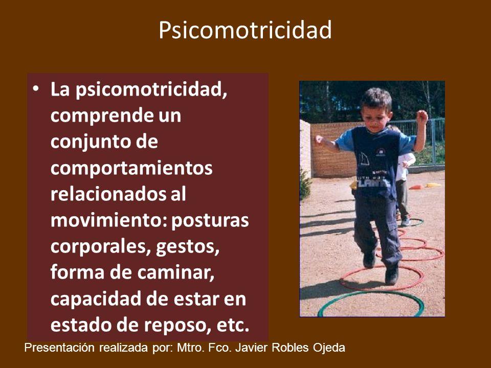Psicomotricidad La psicomotricidad, comprende un conjunto de comportamientos relacionados al movimiento: posturas corporales, gestos, forma de caminar