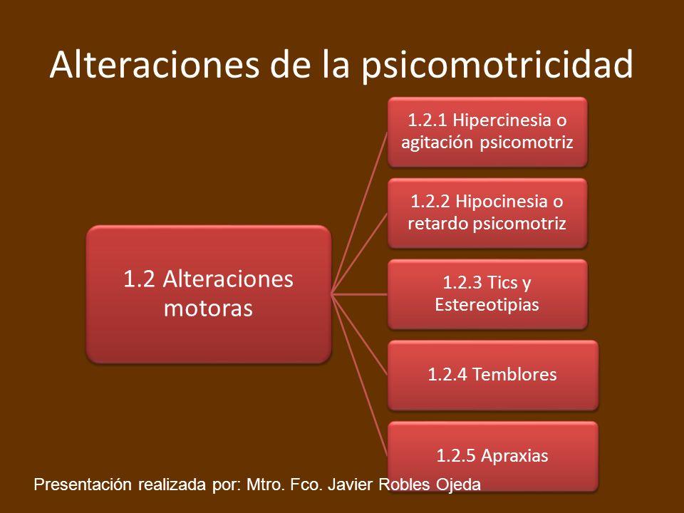 Alteraciones de la psicomotricidad 1.2 Alteraciones motoras 1.2.1 Hipercinesia o agitación psicomotriz 1.2.2 Hipocinesia o retardo psicomotriz 1.2.3 T