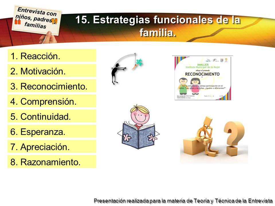 Entrevista con niños, padres y familias Presentación realizada para la materia de Teoría y Técnica de la Entrevista 1. Reacción. 15. Estrategias funci