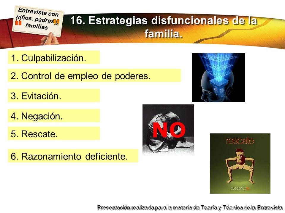 Entrevista con niños, padres y familias Presentación realizada para la materia de Teoría y Técnica de la Entrevista 1. Culpabilización. 16. Estrategia