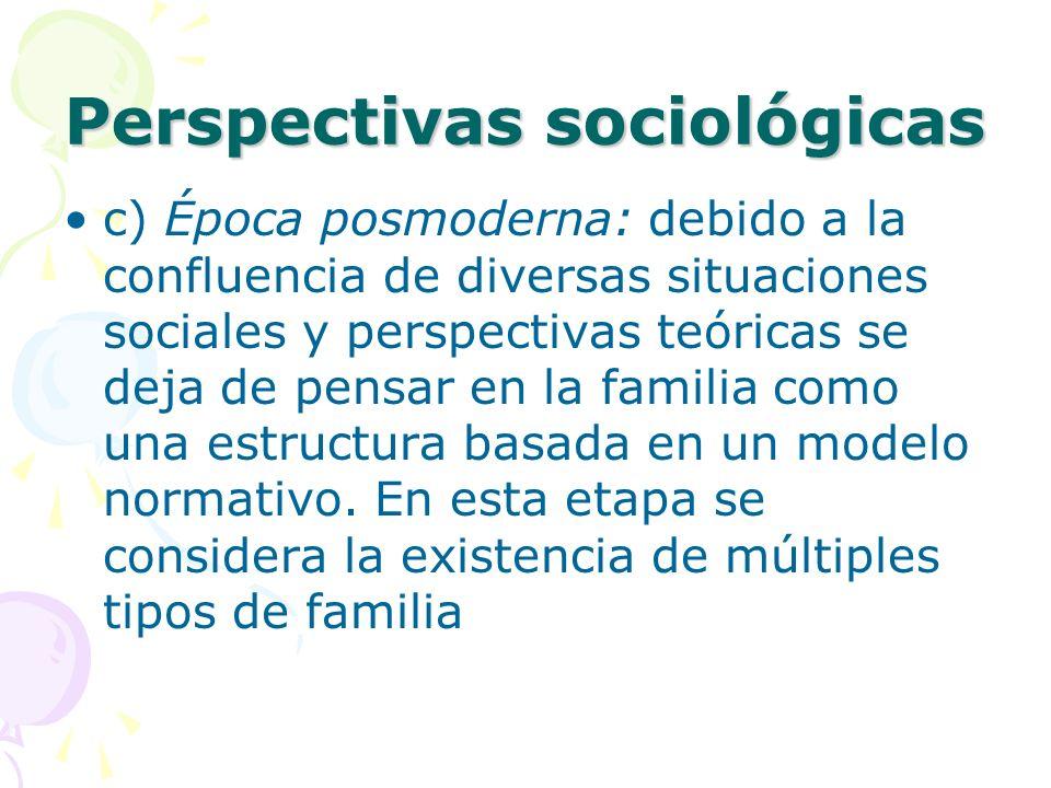 Perspectivas sociológicas c) Época posmoderna: debido a la confluencia de diversas situaciones sociales y perspectivas teóricas se deja de pensar en la familia como una estructura basada en un modelo normativo.