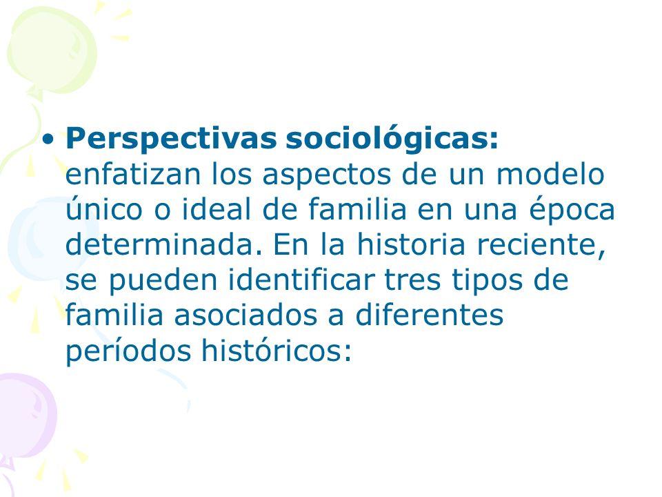 Perspectivas sociológicas: enfatizan los aspectos de un modelo único o ideal de familia en una época determinada. En la historia reciente, se pueden i