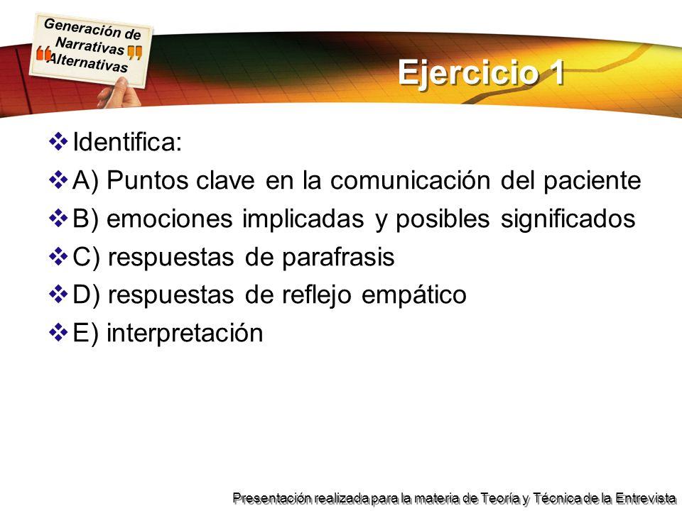 Generación de Narrativas Alternativas Presentación realizada para la materia de Teoría y Técnica de la Entrevista Ejercicio 1 Identifica: A) Puntos cl
