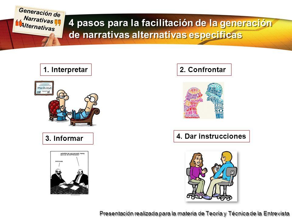 Generación de Narrativas Alternativas Presentación realizada para la materia de Teoría y Técnica de la Entrevista 4 pasos para la facilitación de la g