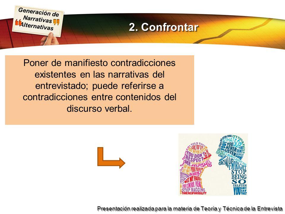 Generación de Narrativas Alternativas Presentación realizada para la materia de Teoría y Técnica de la Entrevista Poner de manifiesto contradicciones