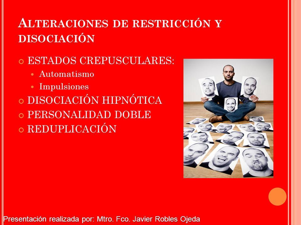 A LTERACIONES DE RESTRICCIÓN Y DISOCIACIÓN ESTADOS CREPUSCULARES: Automatismo Impulsiones DISOCIACIÓN HIPNÓTICA PERSONALIDAD DOBLE REDUPLICACIÓN Prese