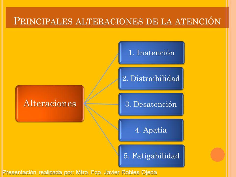 P RINCIPALES ALTERACIONES DE LA ATENCIÓN Alteraciones 1. Inatención2. Distraibilidad3. Desatención4. Apatía5. Fatigabilidad Presentación realizada por