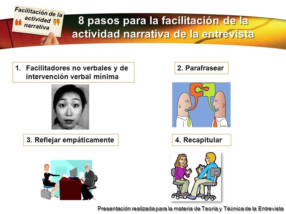 Facilitación de la actividad narrativa Presentación realizada para la materia de Teoría y Técnica de la Entrevista 1.Facilitadores no verbales y de in