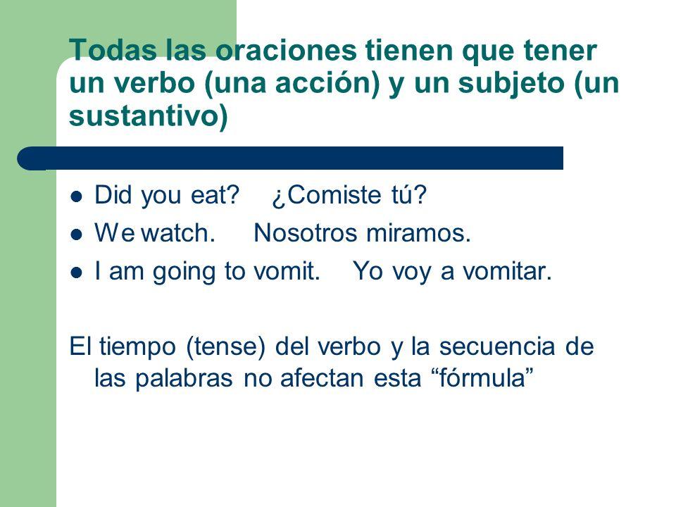 Todas las oraciones tienen que tener un verbo (una acción) y un subjeto (un sustantivo) Did you eat? ¿Comiste tú? We watch. Nosotros miramos. I am goi