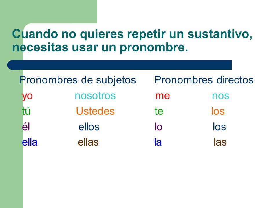 Cuando no quieres repetir un sustantivo, necesitas usar un pronombre. Pronombres de subjetos Pronombres directos yonosotros me nos tú Ustedes te los é