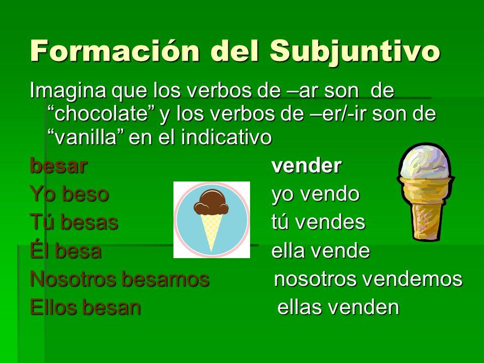 Formación del Subjuntivo Imagina que los verbos de –ar son de chocolate y los verbos de –er/-ir son de vanilla en el indicativo besarvender Yo besoyo