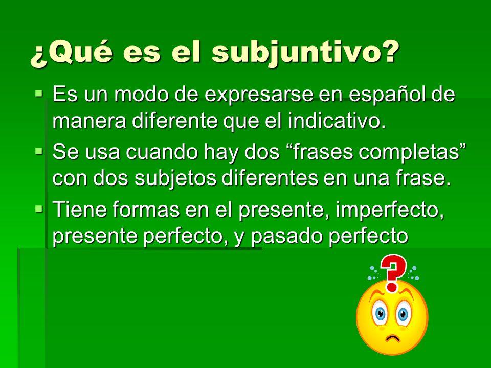 ¿Qué es el subjuntivo? Es un modo de expresarse en español de manera diferente que el indicativo. Es un modo de expresarse en español de manera difere