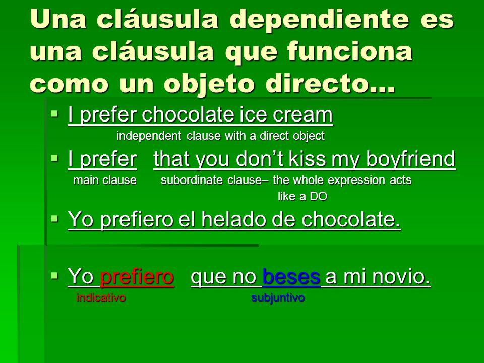 Una cláusula dependiente es una cláusula que funciona como un objeto directo… I prefer chocolate ice cream I prefer chocolate ice cream independent cl