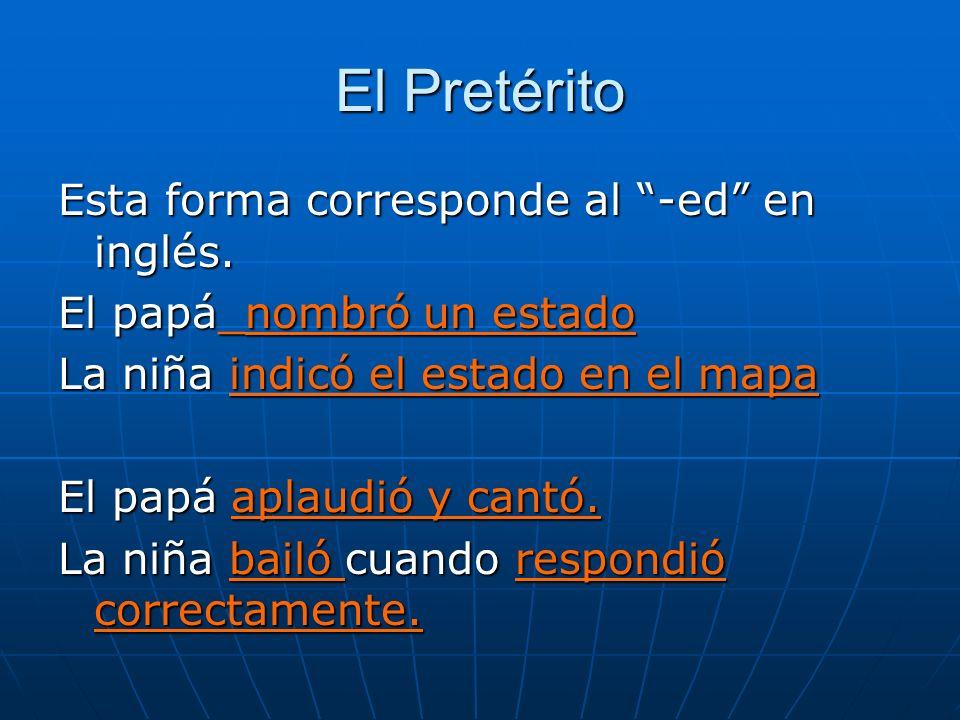 El Pretérito Esta forma corresponde al -ed en inglés.