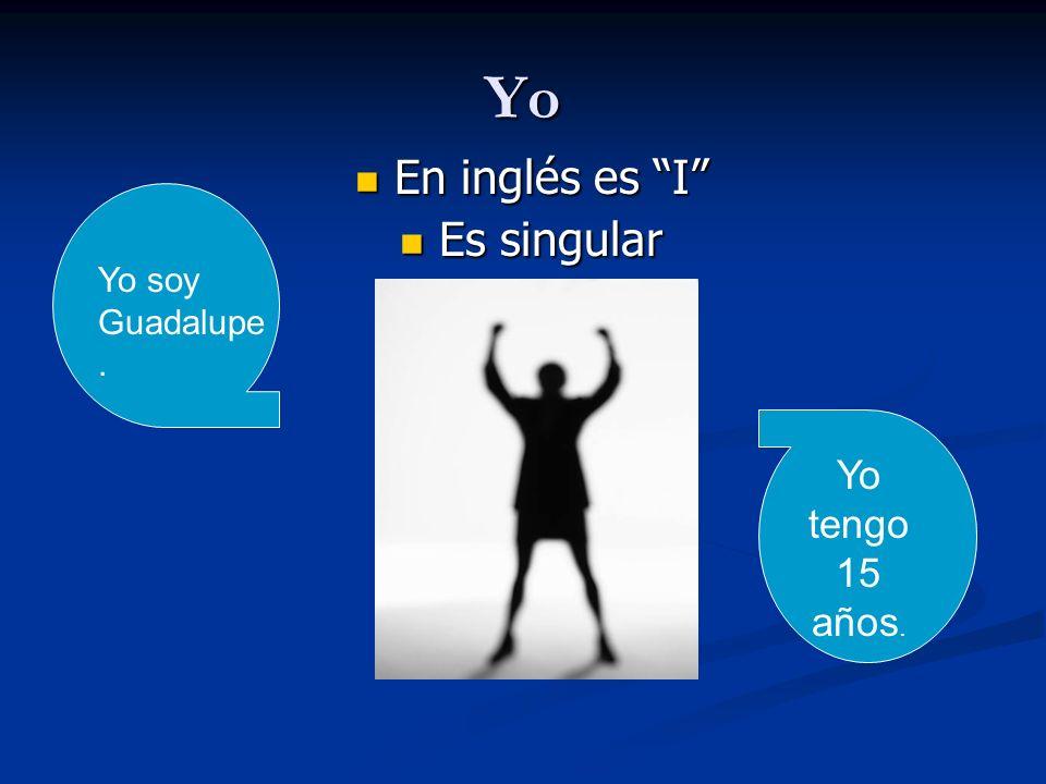 Yo En inglés es I En inglés es I Es singular Es singular Yo soy Guadalupe. Yo tengo 15 años.