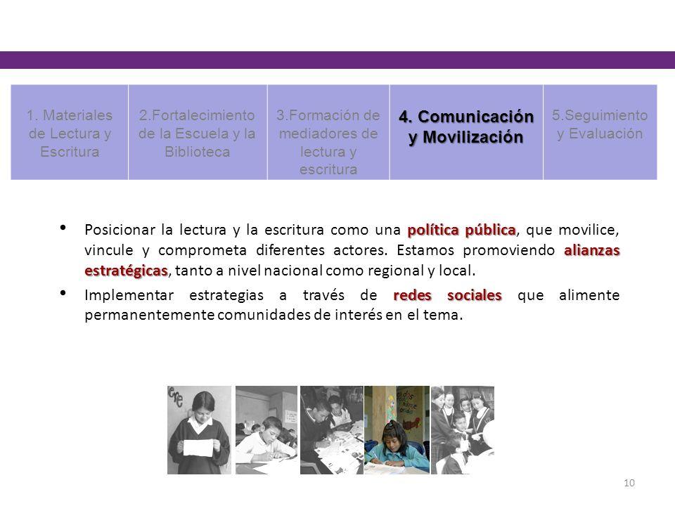 política pública alianzas estratégicas Posicionar la lectura y la escritura como una política pública, que movilice, vincule y comprometa diferentes a