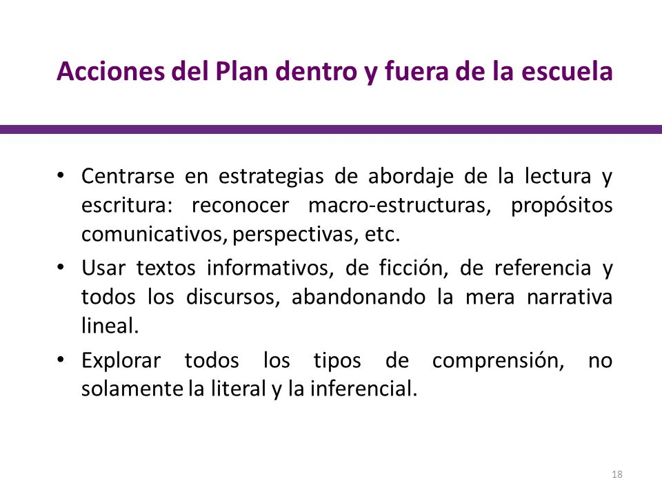 Acciones del Plan dentro y fuera de la escuela Centrarse en estrategias de abordaje de la lectura y escritura: reconocer macro-estructuras, propósitos