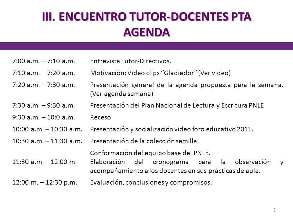 III. ENCUENTRO TUTOR-DOCENTES PTA AGENDA 2 7:00 a.m. – 7:10 a.m.Entrevista Tutor-Directivos. 7:10 a.m. – 7:20 a.m.Motivación: Video clips Gladiador (V