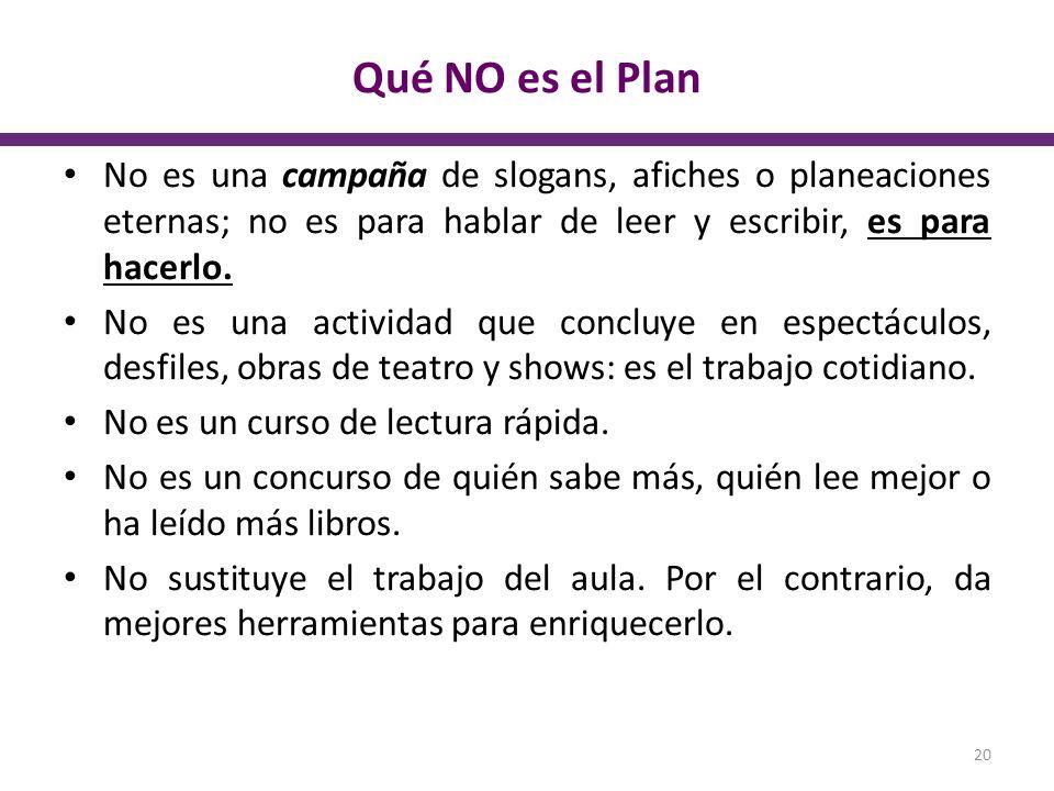 Qué NO es el Plan No es una campaña de slogans, afiches o planeaciones eternas; no es para hablar de leer y escribir, es para hacerlo. No es una activ