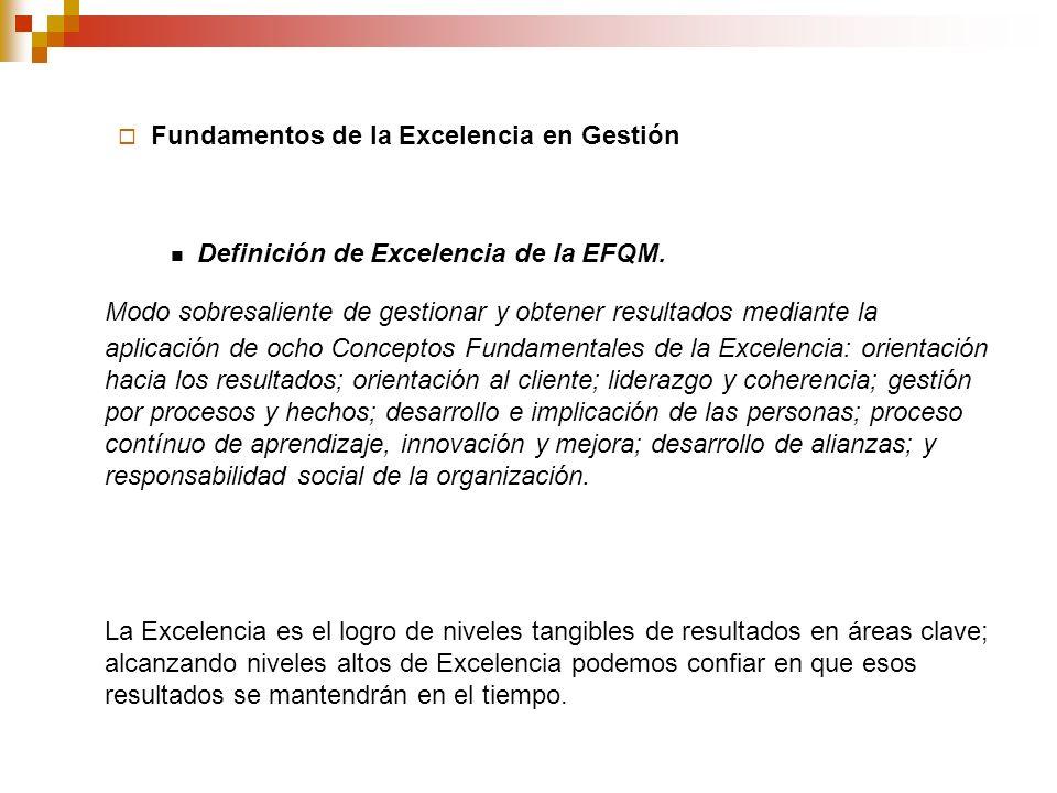 Fundamentos de la Excelencia en Gestión Definición de Excelencia de la EFQM. Modo sobresaliente de gestionar y obtener resultados mediante la aplicaci