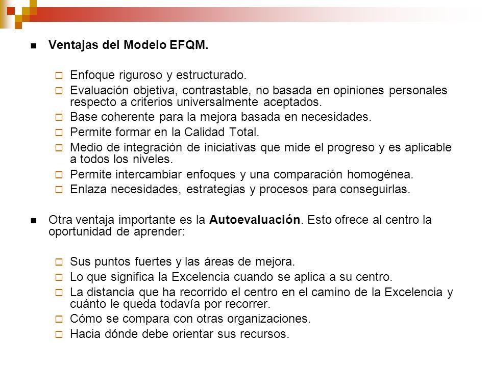 Ventajas del Modelo EFQM. Enfoque riguroso y estructurado. Evaluación objetiva, contrastable, no basada en opiniones personales respecto a criterios u