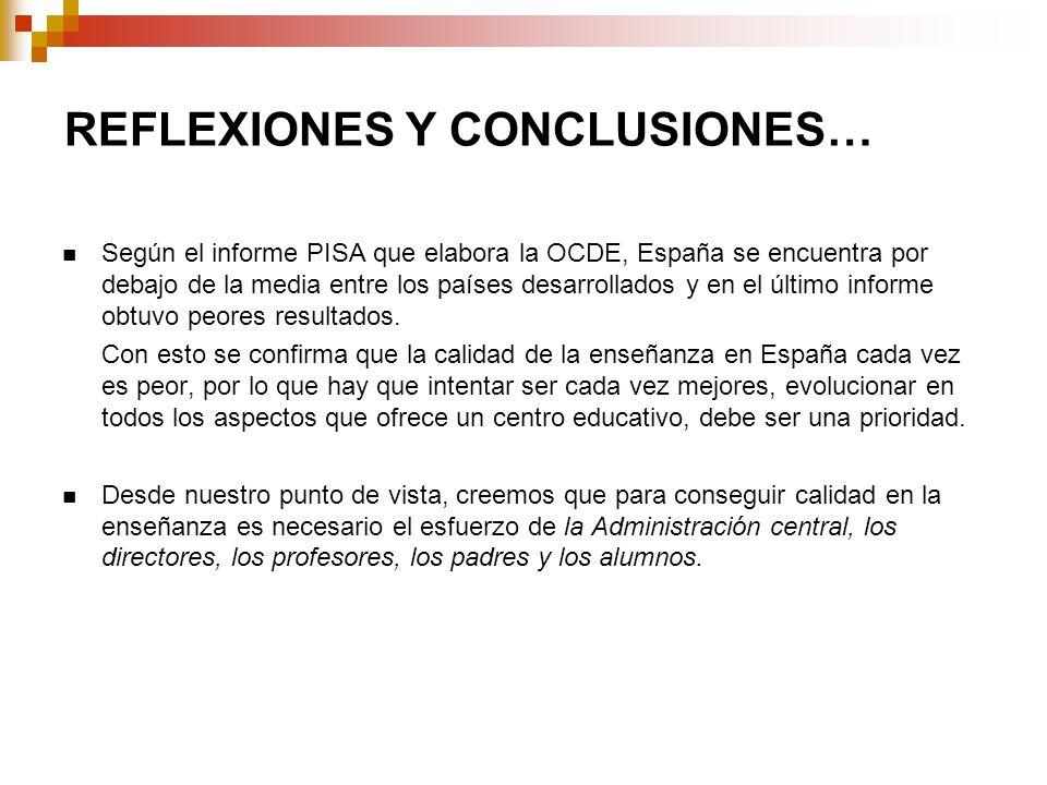 REFLEXIONES Y CONCLUSIONES… Según el informe PISA que elabora la OCDE, España se encuentra por debajo de la media entre los países desarrollados y en