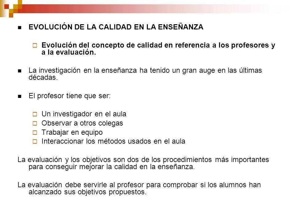 EVOLUCIÓN DE LA CALIDAD EN LA ENSEÑANZA Evolución del concepto de calidad en referencia a los profesores y a la evaluación.