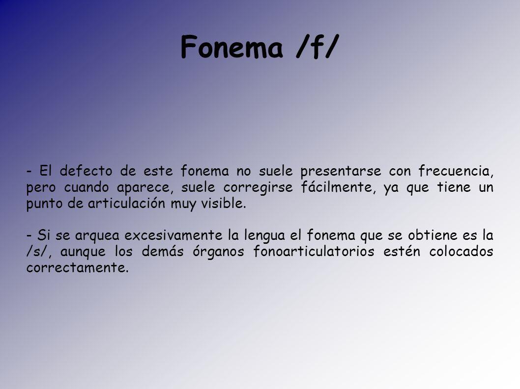 - El defecto de este fonema no suele presentarse con frecuencia, pero cuando aparece, suele corregirse fácilmente, ya que tiene un punto de articulaci