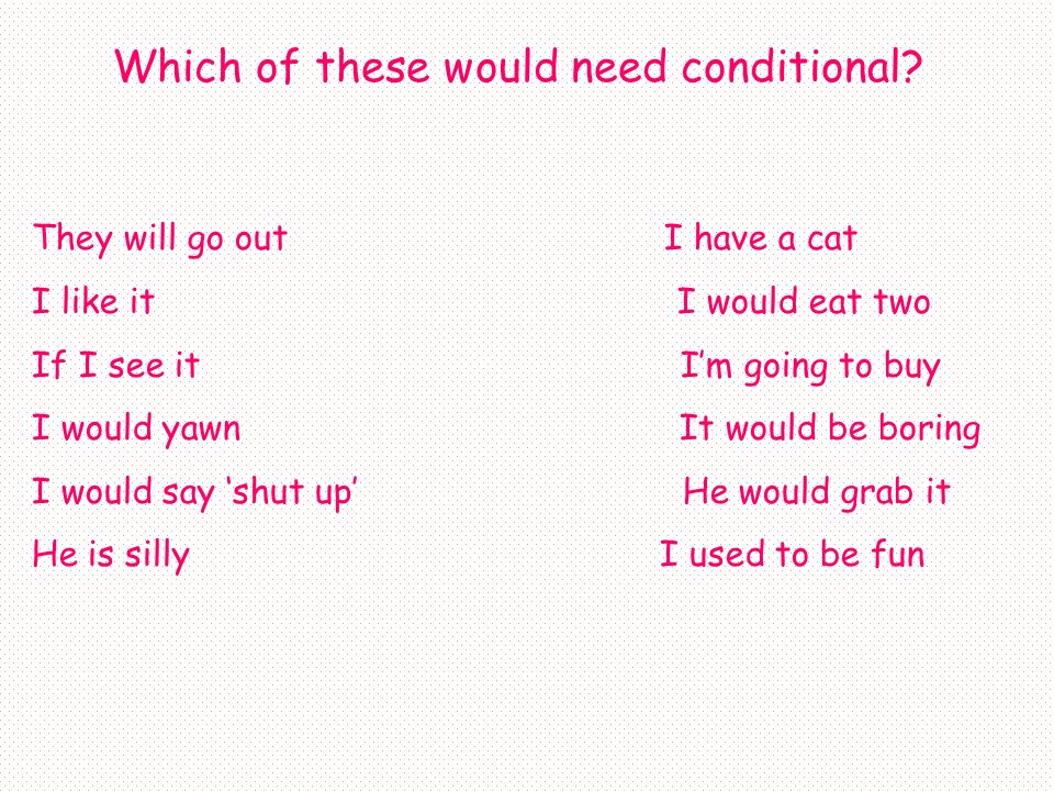 The conditional tense is used when you want to say would.