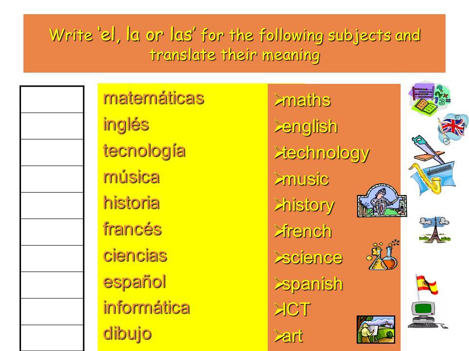Write el, la or las for the following subjects and translate their meaning matemáticasingléstecnologíamúsicahistoriafrancéscienciasespañolinformáticad